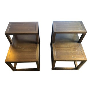 1950s Mid-Century Modern Edward Wormley for Dunbar Tiered Wooden End Tables - a Pair For Sale