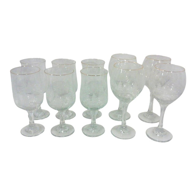Winter Wine and Goblet Stemware-Set of Ten For Sale