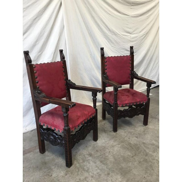 Italian Renaissance Revival Carved Armchairs - a Pair For Sale - Image 4 of 8