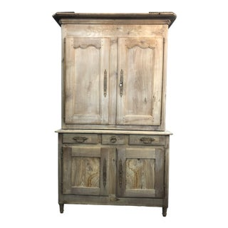 19th C. French Cherry Wood Buffet Deux Corps Armoire For Sale