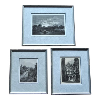 Antique Wood Engravings in Silver Frames - Set of 3 For Sale