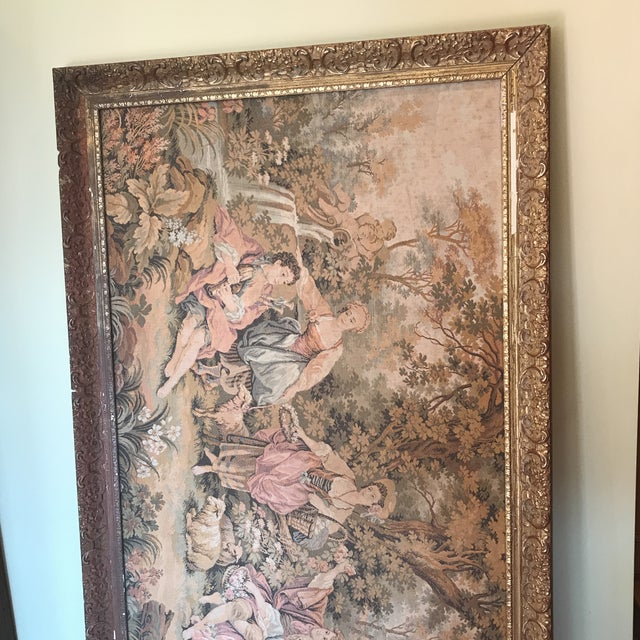 Art Nouveau Extra Large Framed Victorian Scene Tapestry For Sale - Image 3 of 5