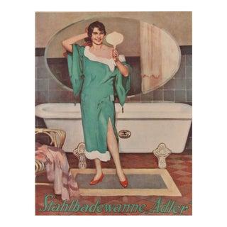 1927 German Mini Poster, Adler Steel Claw Foot Tubs