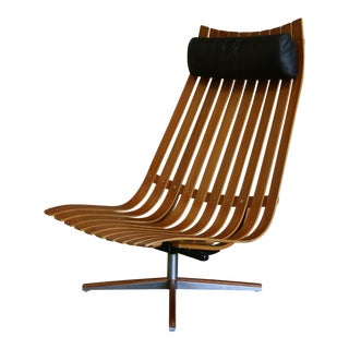 """Mid Century Modern Hans Brattrud for Hove Mobler """"Scandia"""" Swivel Lounge Chair"""