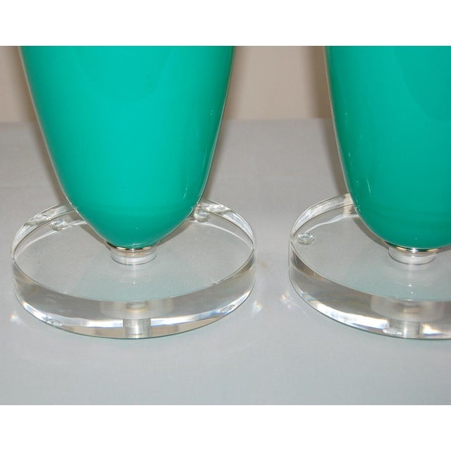 Silver Vintage Murano Glass Table Capsule Lamps in Aqua/White For Sale - Image 8 of 10