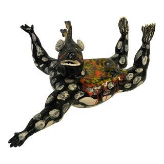 """Signed Original Carol Gentithes Hand-Built Ceramic Sculpture of """"Poseidon"""" Circa 1997 For Sale"""