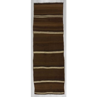 Vintage brown and white striped natural kilim runner rug Preview