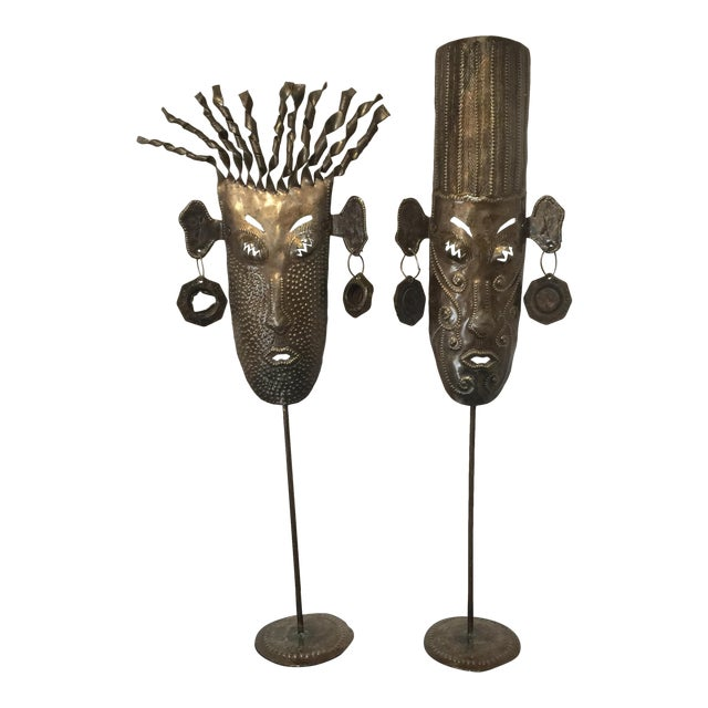 Oil Drum Masks - a Pair - Image 1 of 11