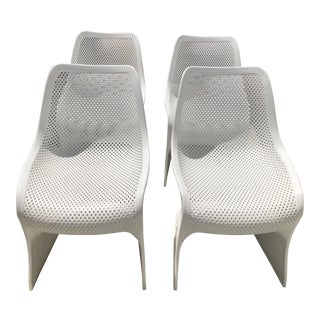 Bloom Chairs by Siesta Exclusive White Outdoor Patio Panton S Style Chairs - Set of 4 For Sale