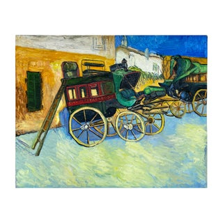 Mid 20th Century French Impressionist Painting Study of Van Gough's Wagons For Sale