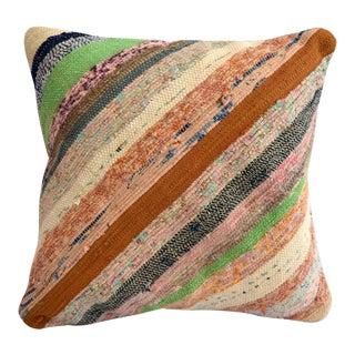 "1970s Pillow Cover Vintage Handmade Cotton RagRug Turkish Kilim Throw Pillow 16"" X 16"" For Sale"