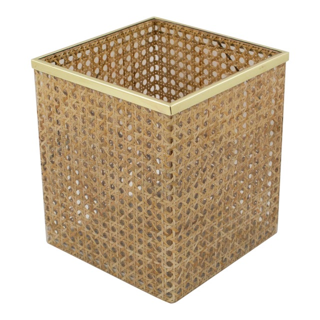 Christian Dior Home Collection 1970s Lucite and Rattan Waste Basket For Sale