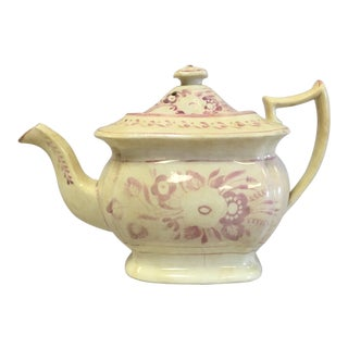 Vintage Pink Lustre Tea Pot For Sale