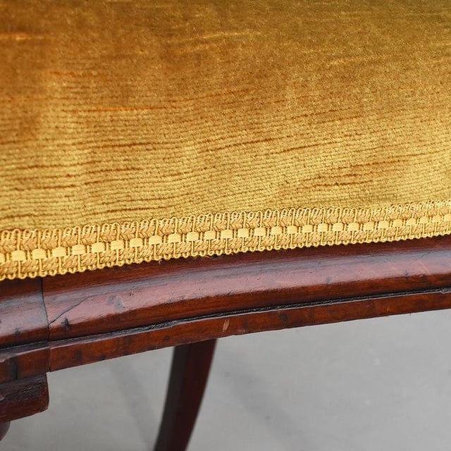 Yellow 1970s Vintage Mahogany Yellow Velvet Louis XVI Victorian Side or Dining Chairs- Set of 4 For Sale - Image 8 of 11