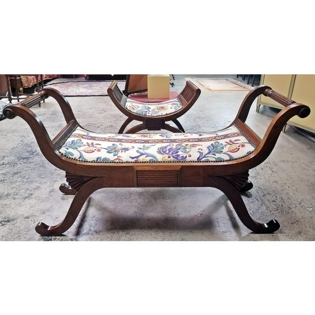 Biedermeier Empire Style Bedroom Scroll End Bench Seats- A Pair For Sale - Image 3 of 13