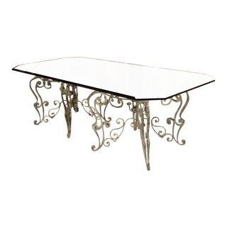 French Iron Dining Table With Glass Top For Sale