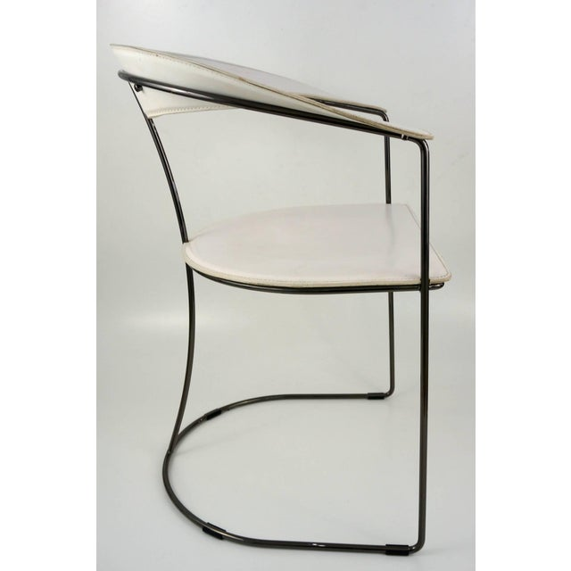 Set of Eight White Leather Chairs with Gunmetal Frames: Arrben, Italy - Image 4 of 7