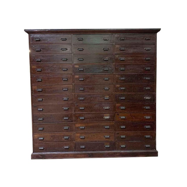 19th Century Industrial Wooden Chest of 36 Drawers For Sale - Image 9 of 9