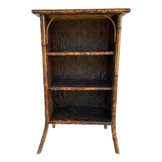 Circa 1910's English Bamboo Bookcase With Embossed Shelves For Sale