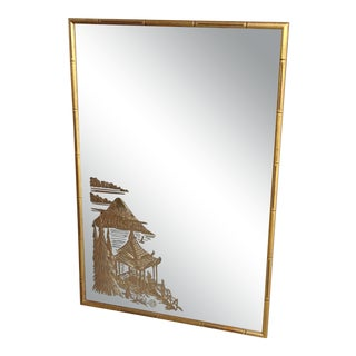 Vintage Hollywood Regency Chinese Asian Gold Etched Mirror in Bamboo Style Frame For Sale