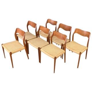 Set of Seven n.o. Møller Model 71 Teak Dining Chairs For Sale
