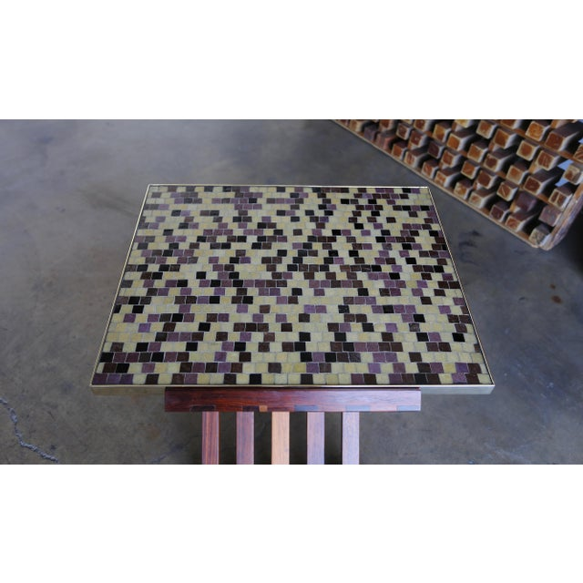 Mid Century Edward Wormley X-Base Rosewood and Murano Tile-Top Table For Sale - Image 9 of 12