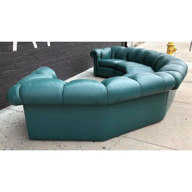 A. Rudin 1970's Tufted Leather A. Rudin Circular Sectional Sofa For Sale - Image 4 of 10