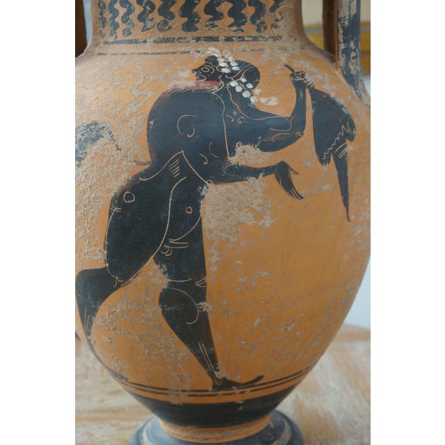 Vintage 1930s Ancient Greek Painted Terra Cotta Garniture - Charger Plate and Two Vases For Sale - Image 10 of 13