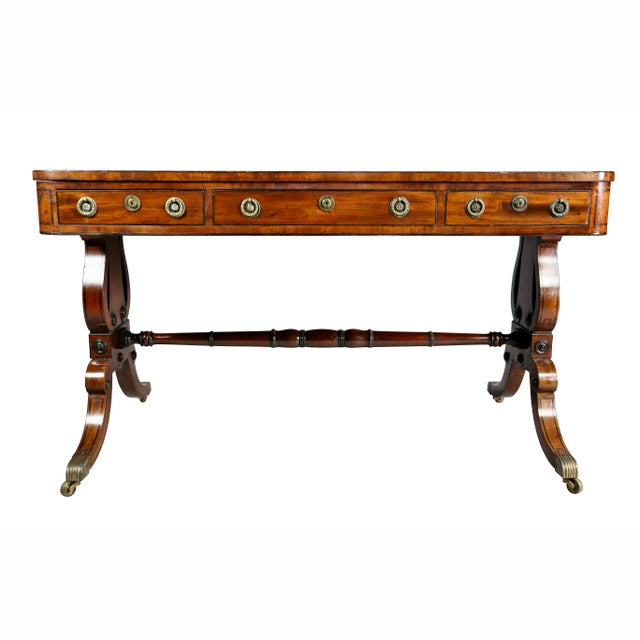 With new beautifully tooled green leather top with drawers on both sides, one side with three the other with a long...