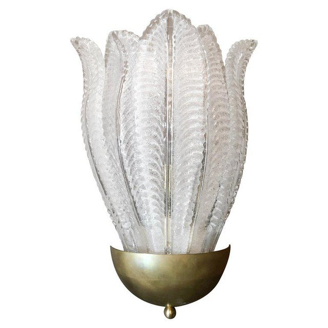 Barovier E Toso Murano Glass Leafy Sconces (6 Available) For Sale - Image 9 of 9