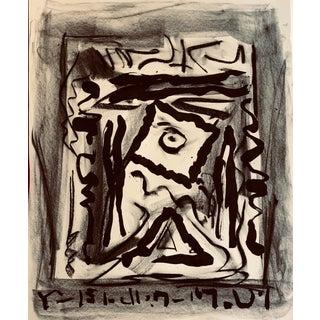 Cuneiform Language in Black & White Drawing by Erik Sulander For Sale