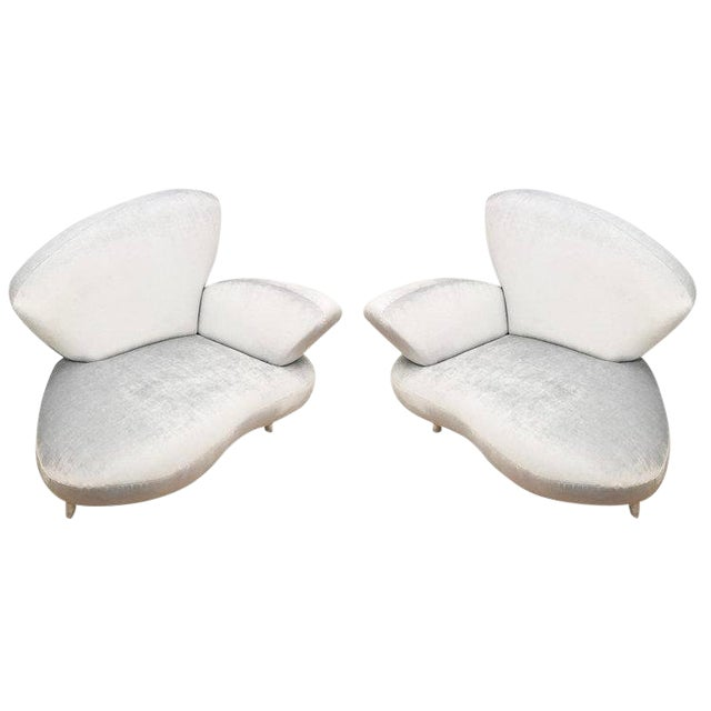 Pair of Lounge Chairs by Poltromec Italia For Sale