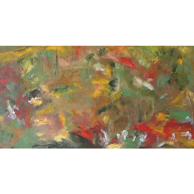 """Meadowscape"" Original Abstract Floral Landscape Painting - Red Green Yellow Wall Art Decor For Sale - Image 4 of 6"