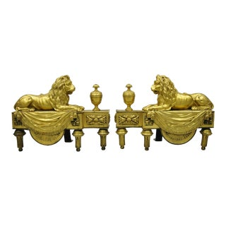 19th Century French Louis XVI Neoclassical Gilt Bronze Lion Chenets-a Pair For Sale