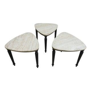 Vintage French Regency Stone Stack Nesting Tables - Set of 3