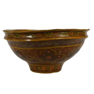 Antique Hand-Painted Indian Bowl For Sale