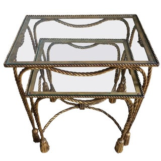 Rope & Tassel Detail Gilt Nesting Tables - A Pair