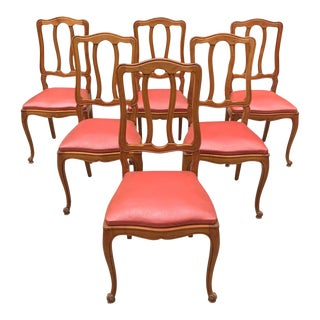1910s Vintage French Louis XV Solid Walnut Dining Chairs - Set of 6 For Sale