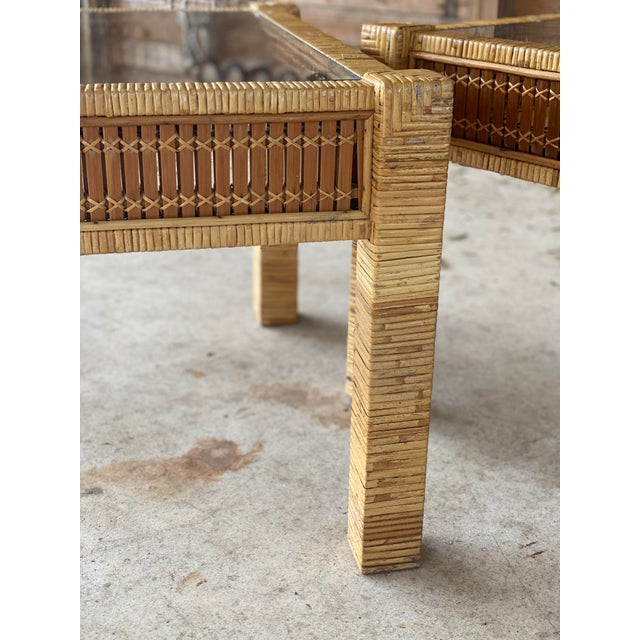 Vintage Wicker Wrapped Bamboo Insert Side Tables - a Pair For Sale In Naples, FL - Image 6 of 13