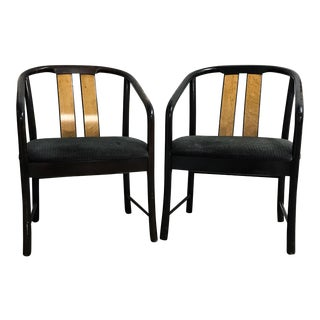 Vintage Bernhardt Flair Division Burled Wood Contemporary-Style Bentwood Chairs - a Pair