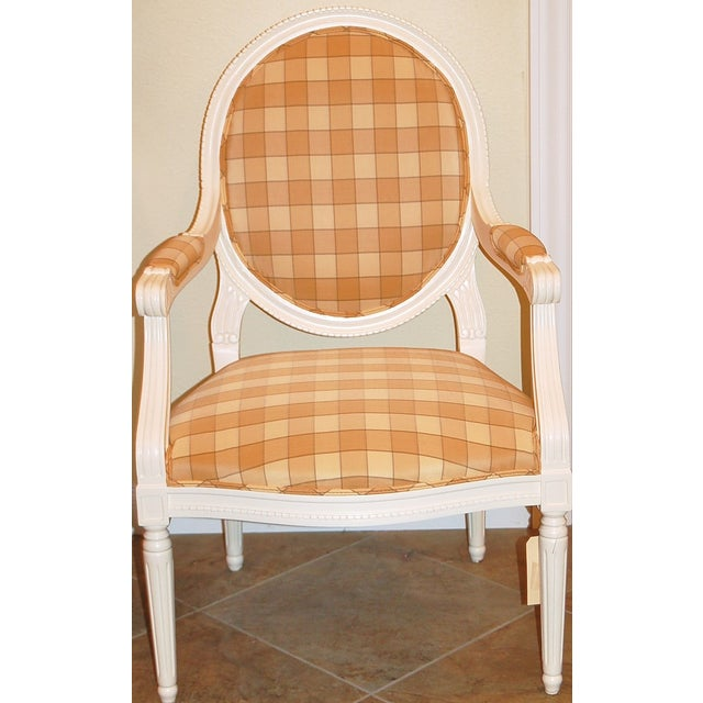 Oval-Back Plaid Upholstered Armchair - Image 2 of 6