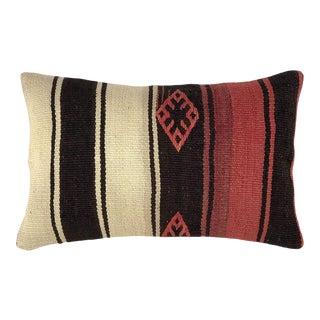 "Scarlet Stripe Kilim Lumbar Pillow | 12 X 20"" For Sale"