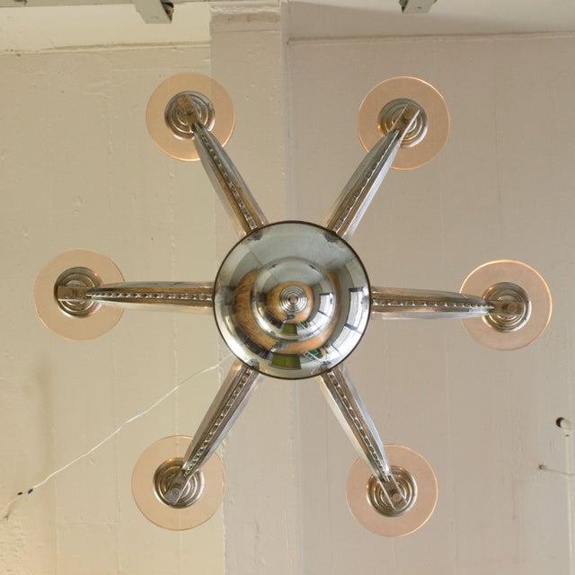 French Deco Chrome-Plated Chandelier by Petitot For Sale - Image 10 of 11