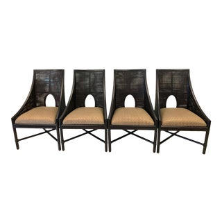 Barbara Barry for McGuire Caned Arm Chairs-Set of 4 For Sale