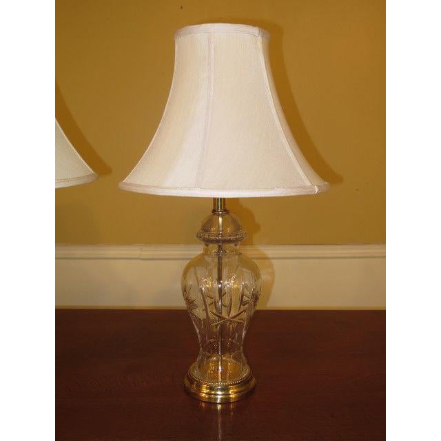 LF38443: Pair WATERFORD (unmarked) Crystal & Brass Table Lamps Age: Approx: 30 Years Old Details: Nice Etched Glass Brass...