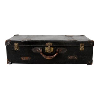 Vintage Black Suitcase with Leather Handle For Sale