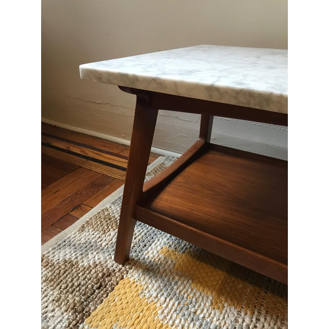 West Elm Reeve Mid Century Rectangular White Marble Top Coffee