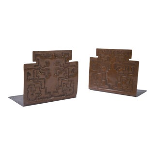 Art and Crafts Style Copper Bookends With Geometric Design For Sale