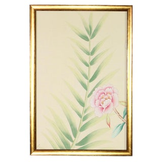 Chinoiserie Wallpaper Floral Garden Detail Diptych Paintings on Palest Yellow Silk - 2 Pieces Preview