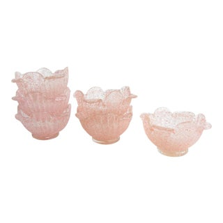 Vintage Pink Fratelli Toso Murano Textured Glass Bowls - Set of 6 For Sale